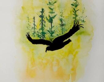 watercolor, watercolor eagle, eagle, eagle watercolor, forest, watercolor painting, original watercolor, 11x15 watercolor, painting, bird