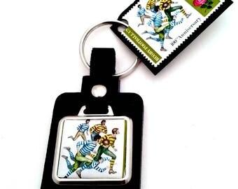 Rugby Vintage Stamp Leather Keyring