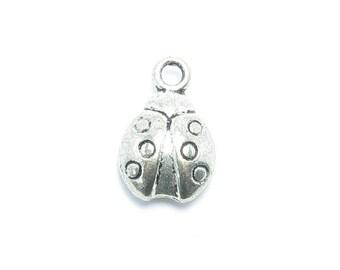 Matte 15x10mm silver Ladybug PENDANT charm