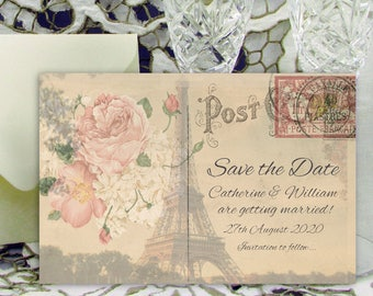 Personalised Save the Date Cards 6x4 inch / 15x10cm Paris Postcard Vintage Shabby Chic Wedding Invitations with Envelopes