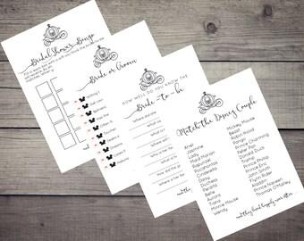 Disney Bridal Shower Games - Happily Ever After - Printable Download