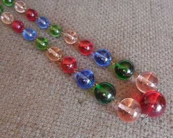 1930s Amazing RAINBOW GLASS Bead NECKLACE...Vintage Jewellery...Art Deco Multicoloured Art Glass Beads...Antique Glamour!