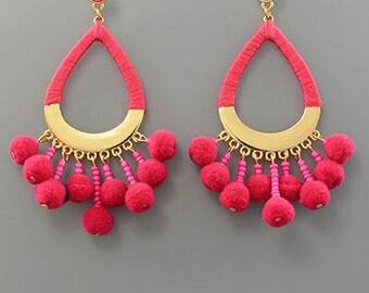 Fuschia Pom Pom Drop Earrings