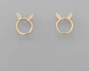 Bunny Ear Circle Studs