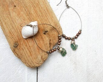 Boho Hoop Earrings with Sea Glass and Mixed Metal Beads