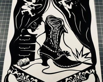 The Elves And The Shoemaker Papercut Art Work - Cut By Hand From A Single Sheet Of Paper
