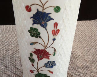 "White Green Vase  Marquetry marble inlay work with semiprecious stone/pietra dura 8''-10"" approx"