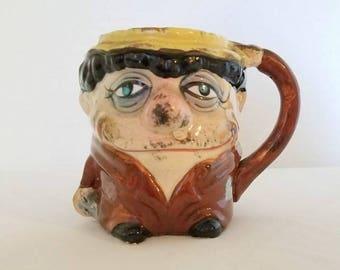 Vagabond Mug,Tipsy Face Mug,Japan,Hangover Mug,Tipsy Face,Drinker,Kitsch,Hobo,Drunk,Drifter,Wino,Tramp,Gifts for him,Kitschy,3D Mug,1960s