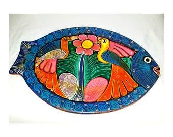 Vintage Mexican Fish Plate,Folk Art,Huatulco,Mexico,Souvenir Plate,Wall Art,Boho,Bohemian,Hand Painted Plate, Hand Painted Fish Plate,1980s
