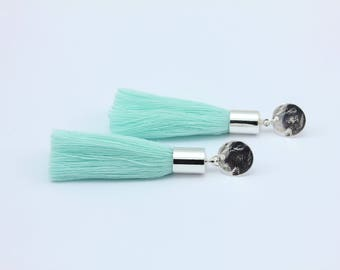 Short Tassel Earrings in Aqua and Silver with Coin Ear Studs, Handmade Jewelry by Detail London .