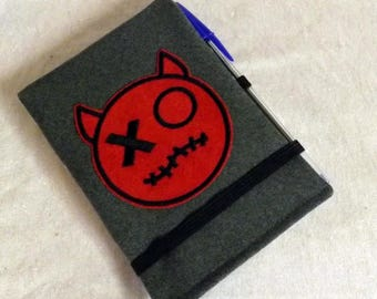"A6 notebook cover ""Handy"" grey Devil"