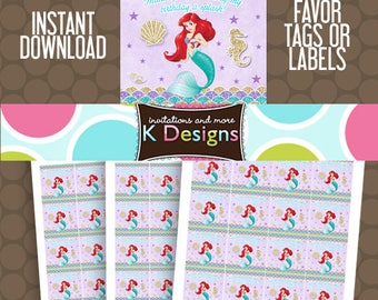 Ariel The Little Mermaid Birthday Favor Tags or Labels Stickers Printable Uprint Digital DIY Instant Download