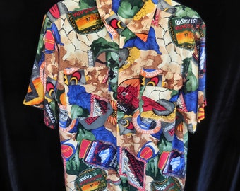 Aurea Silk Vintage Hawaiian Shirt Short Sleeve Size: Men's Medium
