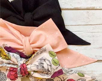 Gorgeous Wrap Trio (3 Gorgeous Wraps)- Noir, Blush Sugar & Vintage Pink Floral Gorgeous Wraps; headwraps; fabric head wraps; bows