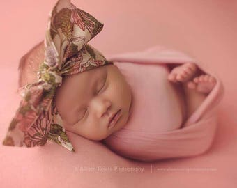 VINTAGE OLIVE FLORAL Gorgeous Wrap- headwrap; fabric head wrap; floral head wrap; boho; newborn headband; baby headband; toddler headband