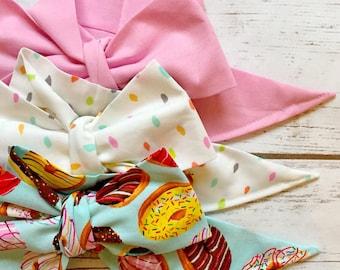 Gorgeous Wrap Trio (3 Gorgeous Wraps)- Ballet Pink, Sprinkles & Donut Love Gorgeous Wraps; headwraps; fabric head wraps; bows
