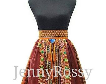 ON SALES Brow dashiki Midi skirt, tribal skirt, dashiki skirt, African clothing