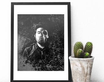 Chino Moreno Skull Print, Deftones Giclee Print, Chino Moreno, Deftones Art Print, Deftones Gift, Deftones, Deftones Skull, Self Titled