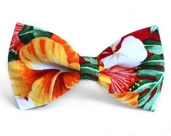 Flowers Bow Tie, Hawaiian, Formal Bow Tie, Bow Tie for Wedding, Groomsmen Bow Tie, Mens Bow Tie, Boys Bow Tie, Dog Bow Tie, For Him