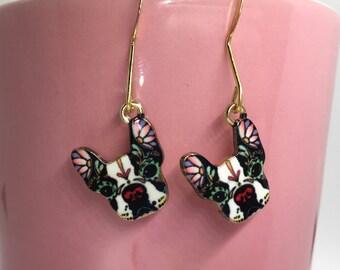 Tattooed Dog Head Earrings, Boxer Dog Earrings, Valentine's Day, Galentine's Day, Valentines , Treat Yo Self, Artsy Dog Earrings