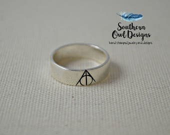 sterling silver deathly hallow ring sterling silver deathly hallows ring harry potter fan - Harry Potter Wedding Rings