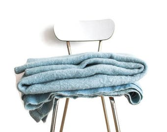 Blue 100% woolen blanket.