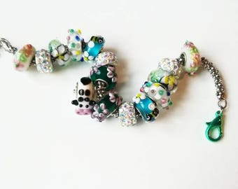 Milkyway Lampwork animals bracelet white green cuff unique brown lampwork handmade glass jewelry cow lampwork beads gift for her flowers Mom