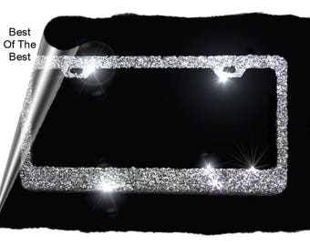 50/50 BLACK and SILVER sparkly glitter bling metal License Plate Frame