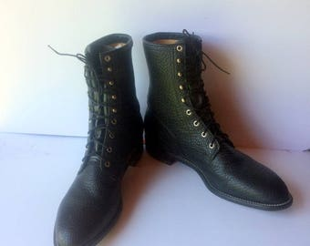sz 14 EE vintage JUSTIN boots, black pebble leather justin lace up granny combat boots