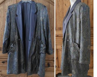 """Men's Smoking Jacket Blazer Reversible Silk Paisley, 3/4 Sleeve Double Breasted Chest 44"""""""