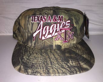 Vintage Texas A&M Aggies camo Camoflauge Snapback hat cap rare 90s deadstock NCAA college football hunting