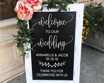 Welcome To Our Wedding Sign - Wedding Chalkboard - Welcome Wedding Decor - Aisle Decor - Wedding Sign - Party Decor - Entrance - Ceremony