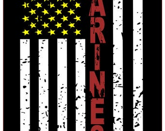 Marines distressed flag SVG File, Quote Cut File, Silhouette File, Cricut File, Vinyl Cut File, Stencil