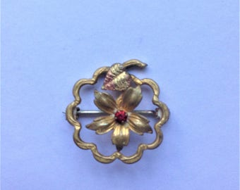 Vintage Flower Brooch, Red Gem Brooch, Brass And Copper Leaf, Circa 1920