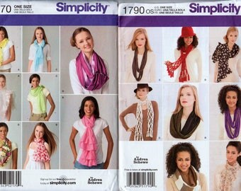 2 Patterns Neck Scarf Pattern Boa Scarf Macrame Scarf SIMPLICITY 1790 & 2170 UNCUT Cowl Pattern Infinity Scarf Knotted Scarf Ruffle Scarf