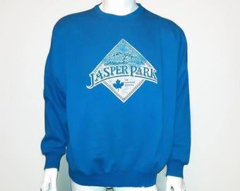 Vintage JASPER Sweater Crew Neck Sweatshirt 90s Canadian Rockies - Color Blue