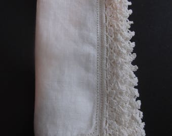 Gorgeous Vintage Handmade Ivory Hankie Wedding or Bridal Boutique Estate Sale Shabby Chic