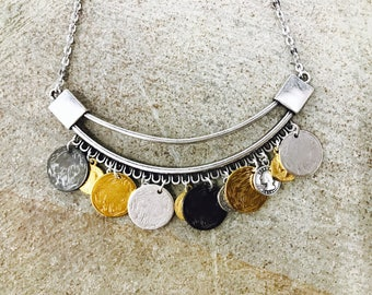 Bohemian coins necklace , steel chain necklace, ethnic coins , multi color discs