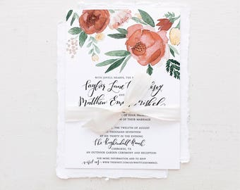 Floral Peony Warm Tones Watercolor Wedding Invitation