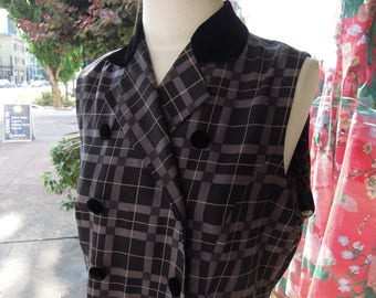 90's Silk Grey Plaid Sleeveless Double Breasted Velvet Detailed Dress ~ Size Large L