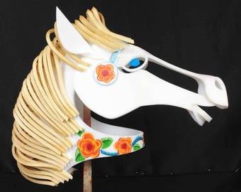 Carousel Horse Mask Head. Carnival masquerade costume headdress for adult men, women. Handmade cosplay animal masks.