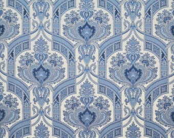 CLARENCE HOUSE STATELY Paisley Medallions Linen Fabric 10 Yards Blue Multi