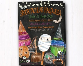 Vintage Trick or Treat Invite - Rustic Halloween Party Invitation - Trunk or Treat Flyer - Costume - Kids Trick or Treat - Haunted House