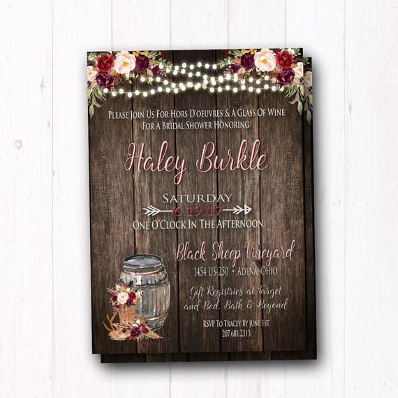 Burgundy Wedding Shower Invitation Rustic Boho Bridal Shower