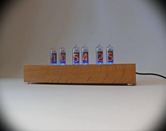 """Nixie tube clock """"Loft 14"""" Alder, natural color IN-14"""