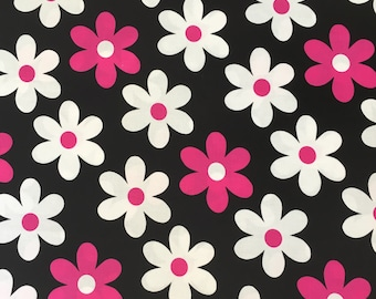 Pink White Daisies on Black Lil Plain Jane Michael Miller Cotton Fabric Mod Flower Power Daisy Quilting Sewing Fabric By The Yard