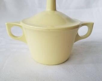 Vintage Yellow Sugar Bowl