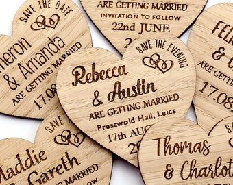 Save The Date Magnet, Rustic Heart Wooden Save the Date, Rustic Wedding Save the Date Personalised Wedding Invite, Custom Wedding Magnet