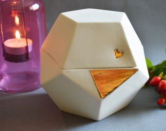 Seconds-Individual Porcelain Dodecahedron Pot with Gold Embossed Heart (Large)- Ceramic, Sacred Geometry, Platonic Solid