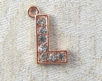 """Rose Gold Rhinestone Letter """"L"""" Charm, 1 or 5 letters per package ALF022l-RG"""
